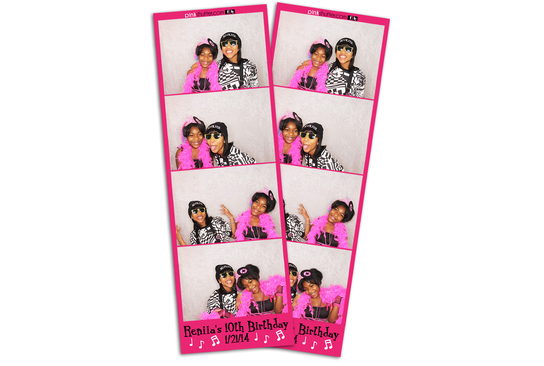 Pink Rock n Roll Theme Birthday Photo Strips