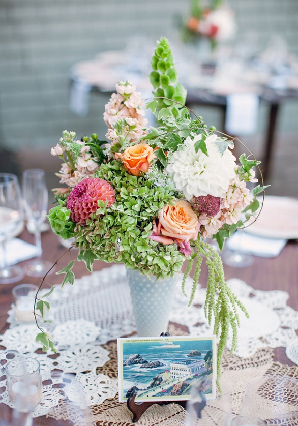 Floral Centerpiece and Vintage Table Card