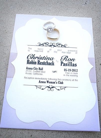 Purple and White Wedding Invitation