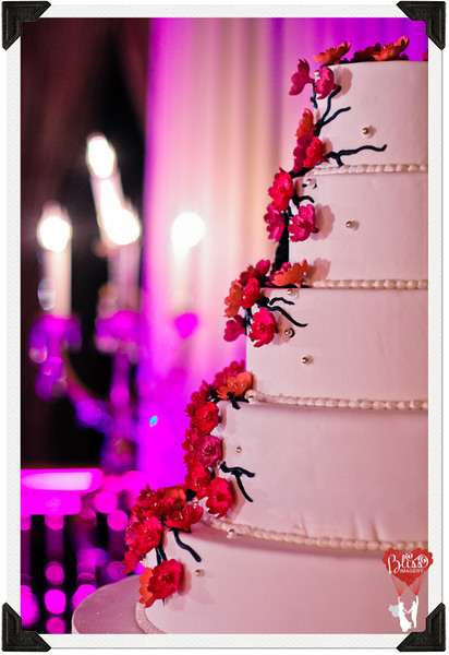 Closeup of Multi-tiered Wedding Cake with Blossom Detailing