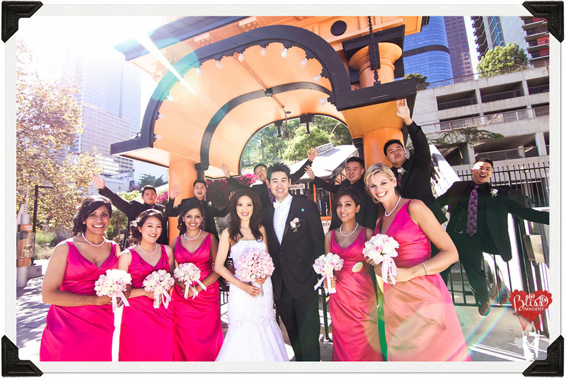 The Bride and Groom Pose Outside with Their Bridal Party