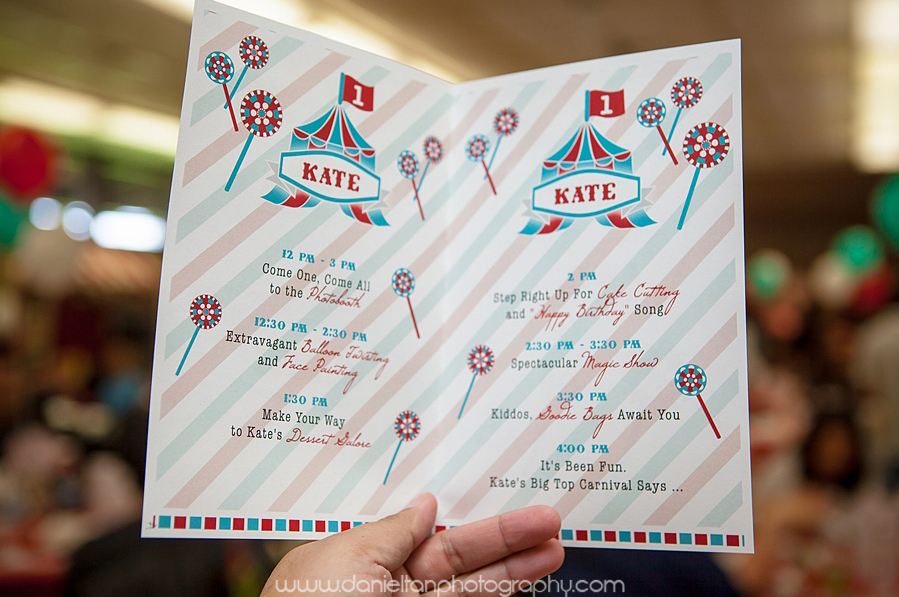 Program Lists Activites for Kate's Birthday Party