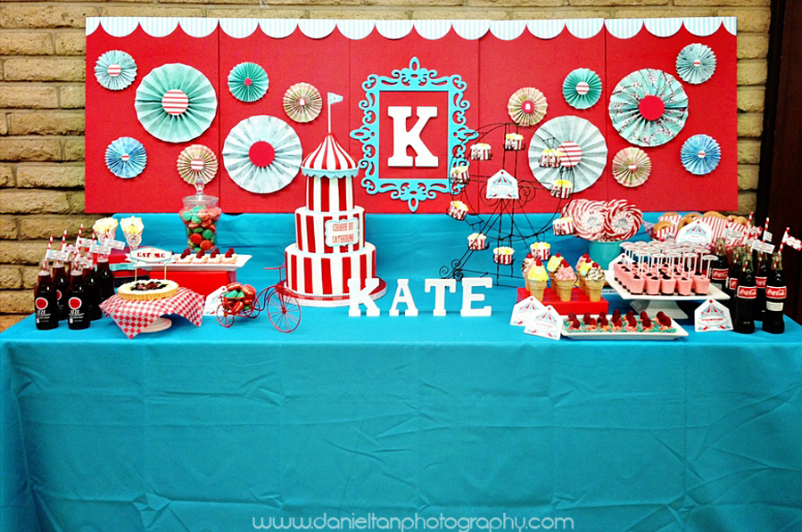 Cake and Dessert Table Decorated in the Carnival Theme