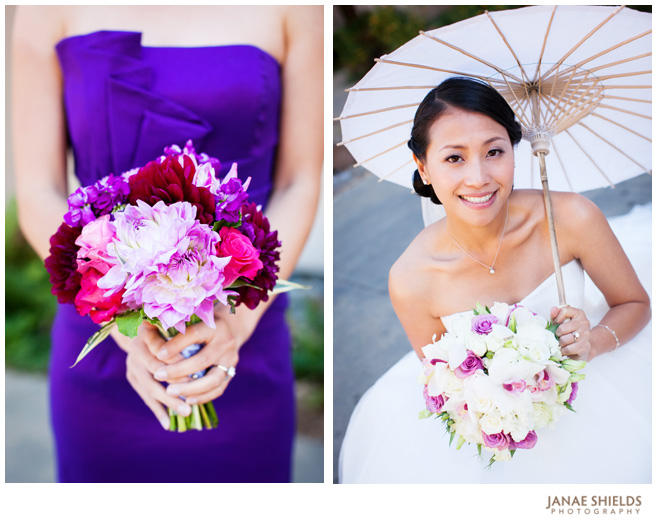Bouquets and Bridesmaids Dresses in Purple