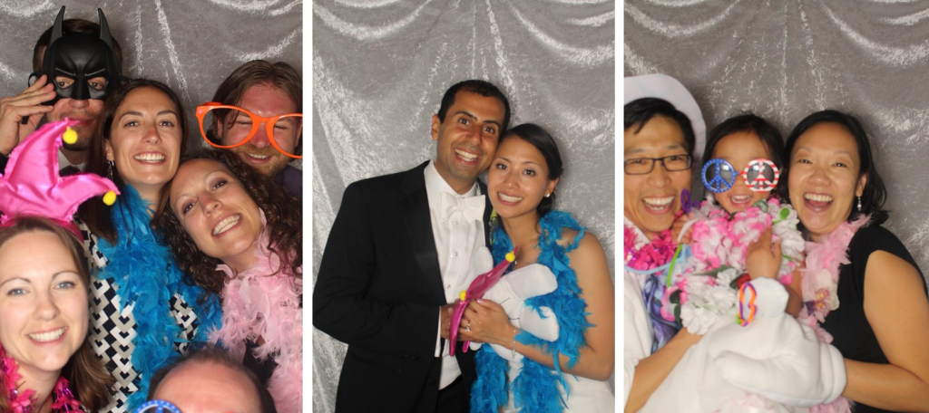 Bride and Groom Smile in the Photo Booth