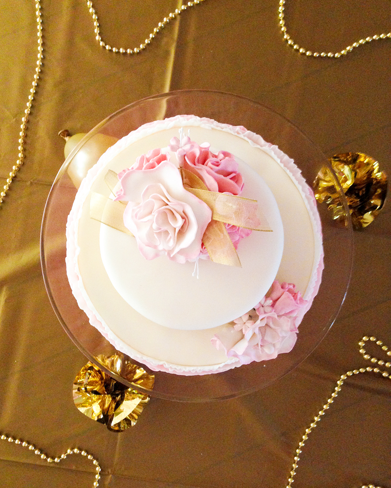 Top View of Tiered Pink Birthday Cake