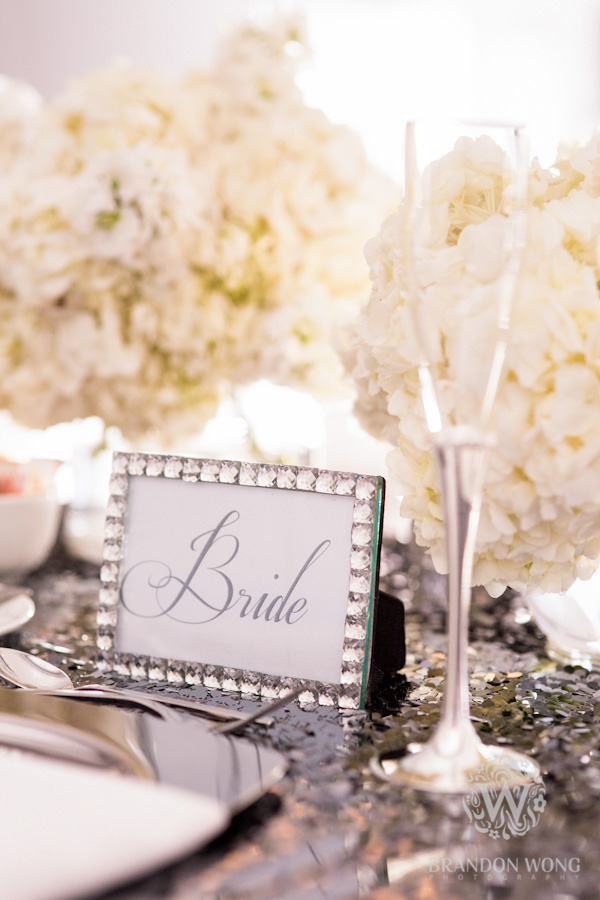 Sequins and Rhinestones Decorate the Head Table for Bride and Groom