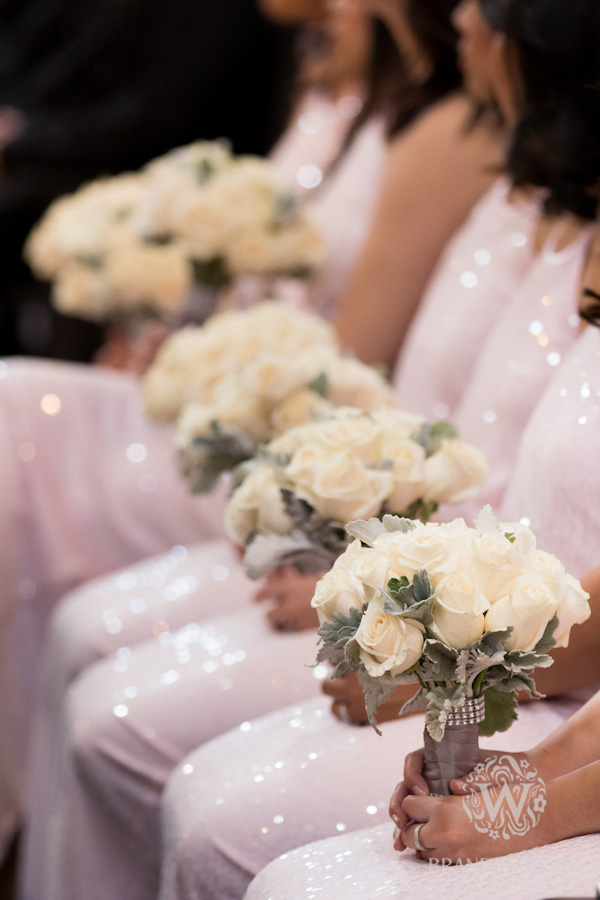 Bridesmaids In Pink with Bouquets