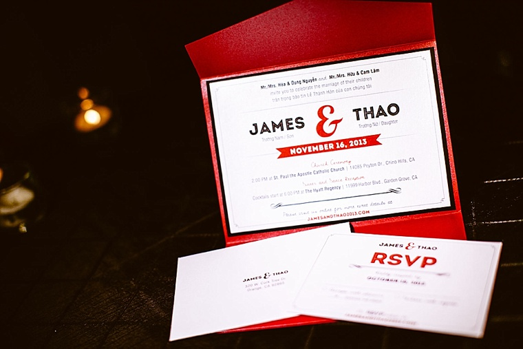 Black and Red Modern Design Wedding Invitations