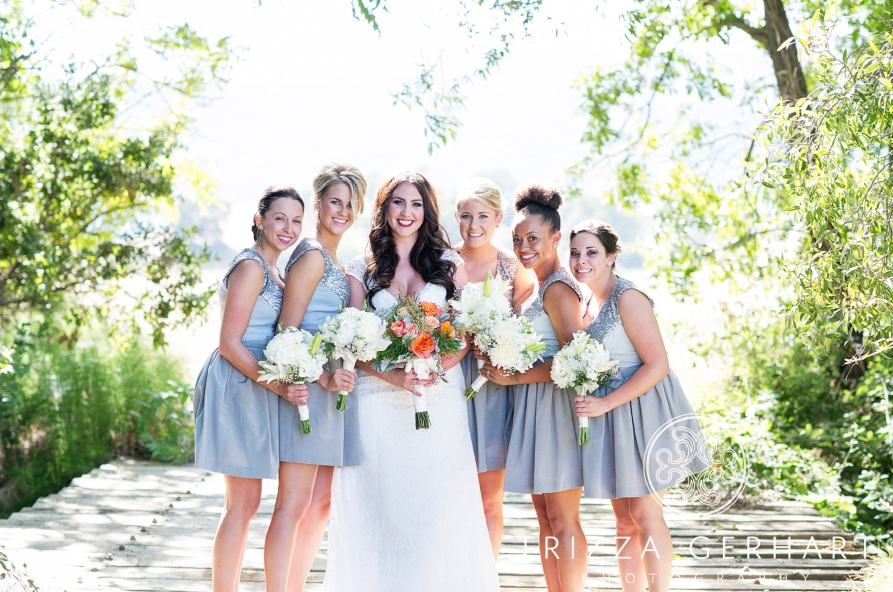 Cady and Her Bridesmaids Post with Bouquets