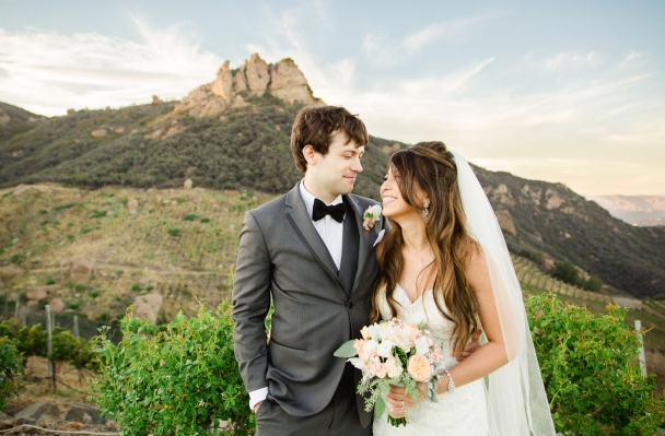 View of Malibu Mountains Behind Bride and Groom