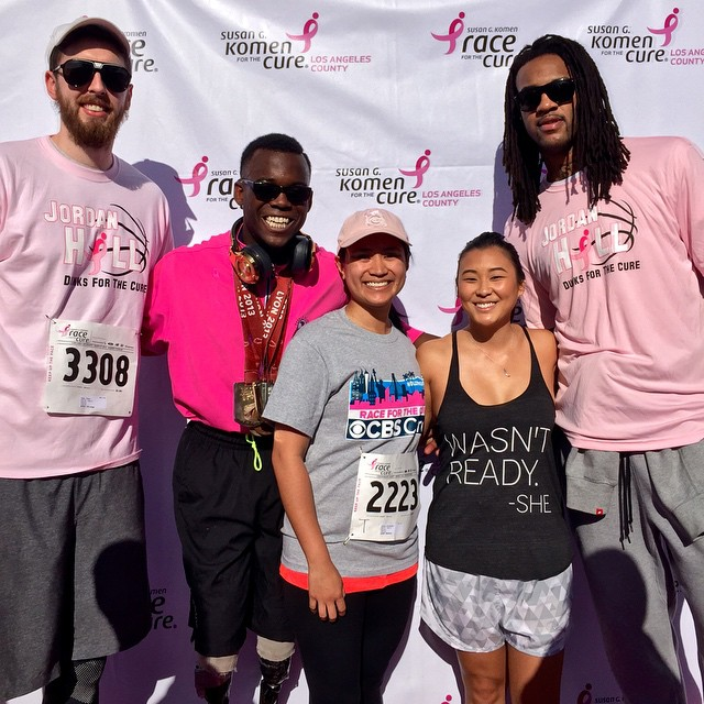 Blake Leeper, Jordan Hill and Ryan Kelly Pose with Race Participants