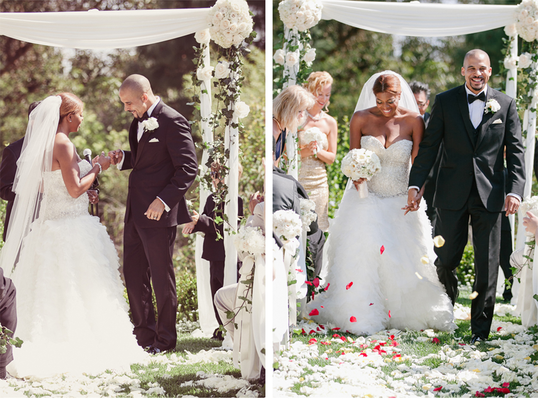 The Couple Celebrate as Guests Toss Rose Petals Down the Aisle