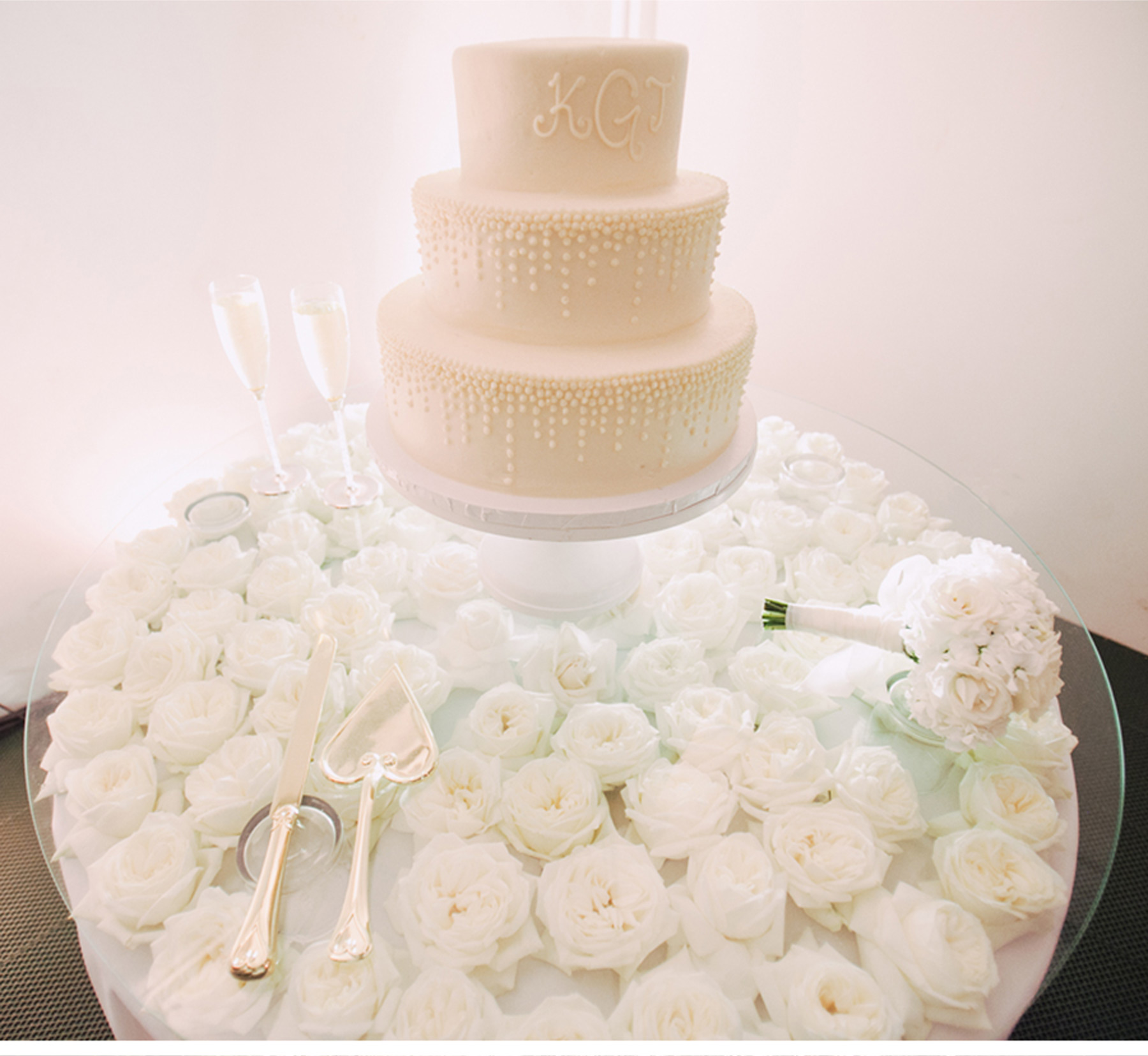 White on White Tiered Wedding Cake with Initials