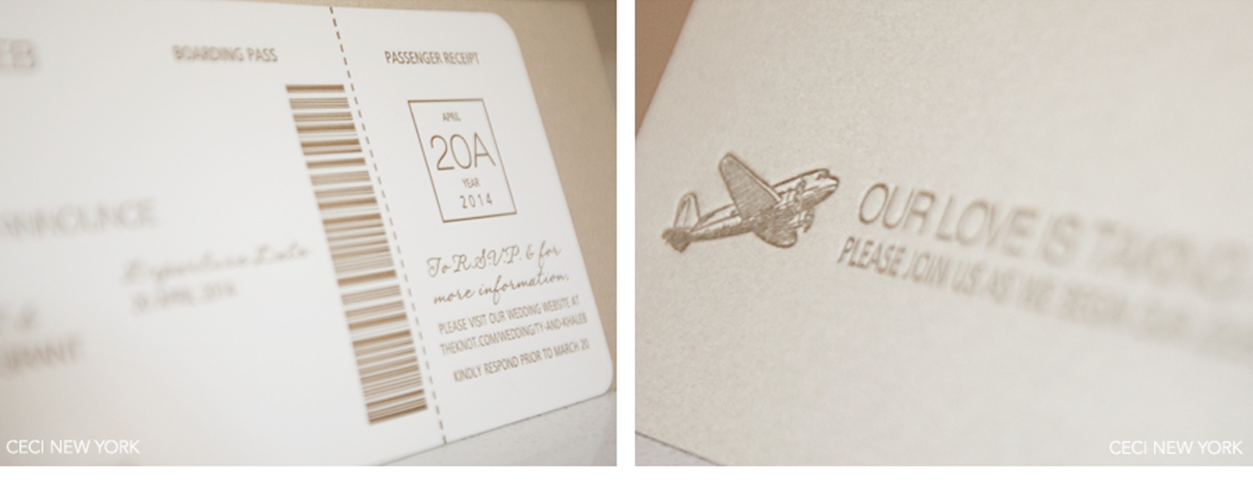 Gold and White Jet Set Invitation Suite