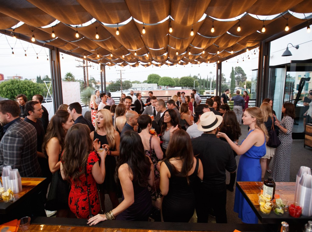 Guests Enjoy Views from the Patio at Rise Nation