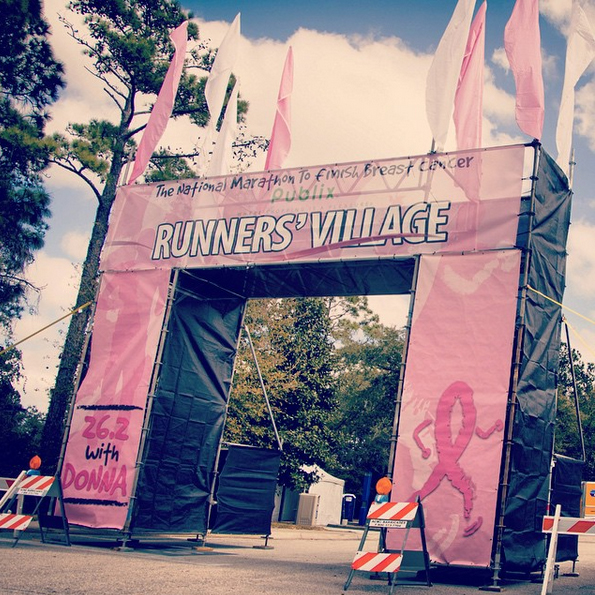A Pink Arch Marks the Entry to the Runner's Village