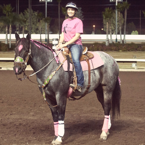 Participants and Their Horses Don Pink at the Los Alamitos Track