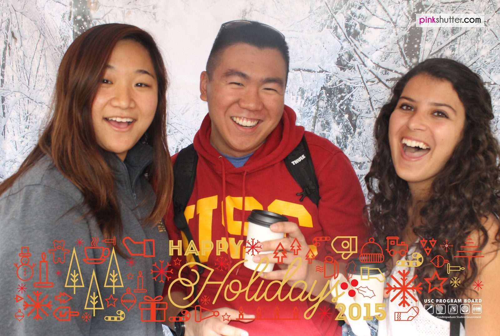 USC Trojans Snap Shots in Front of a Winter Backdrop