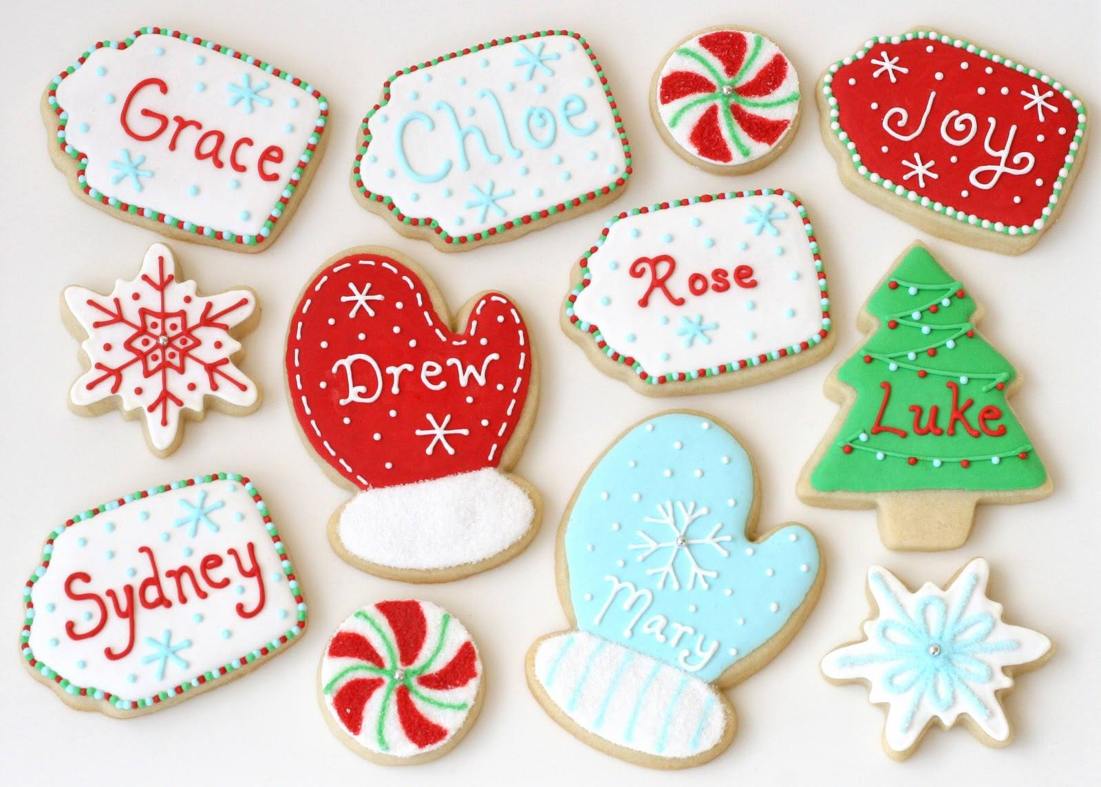 Holiday Winter Cookies Decorated with Names and Snowflakes