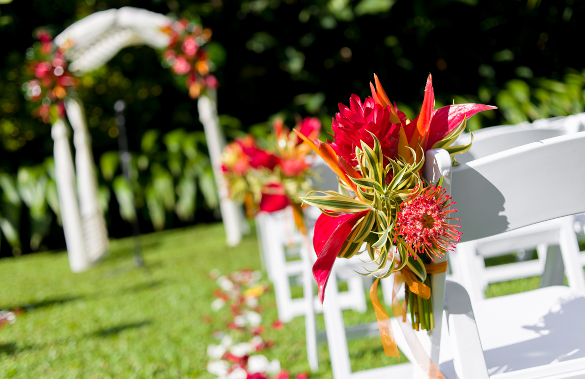 Bright Tropical Flowers Line the Aisle