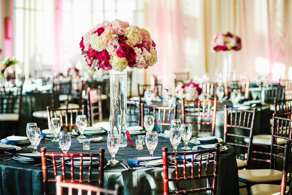 Reception Tables with Pink Flowers