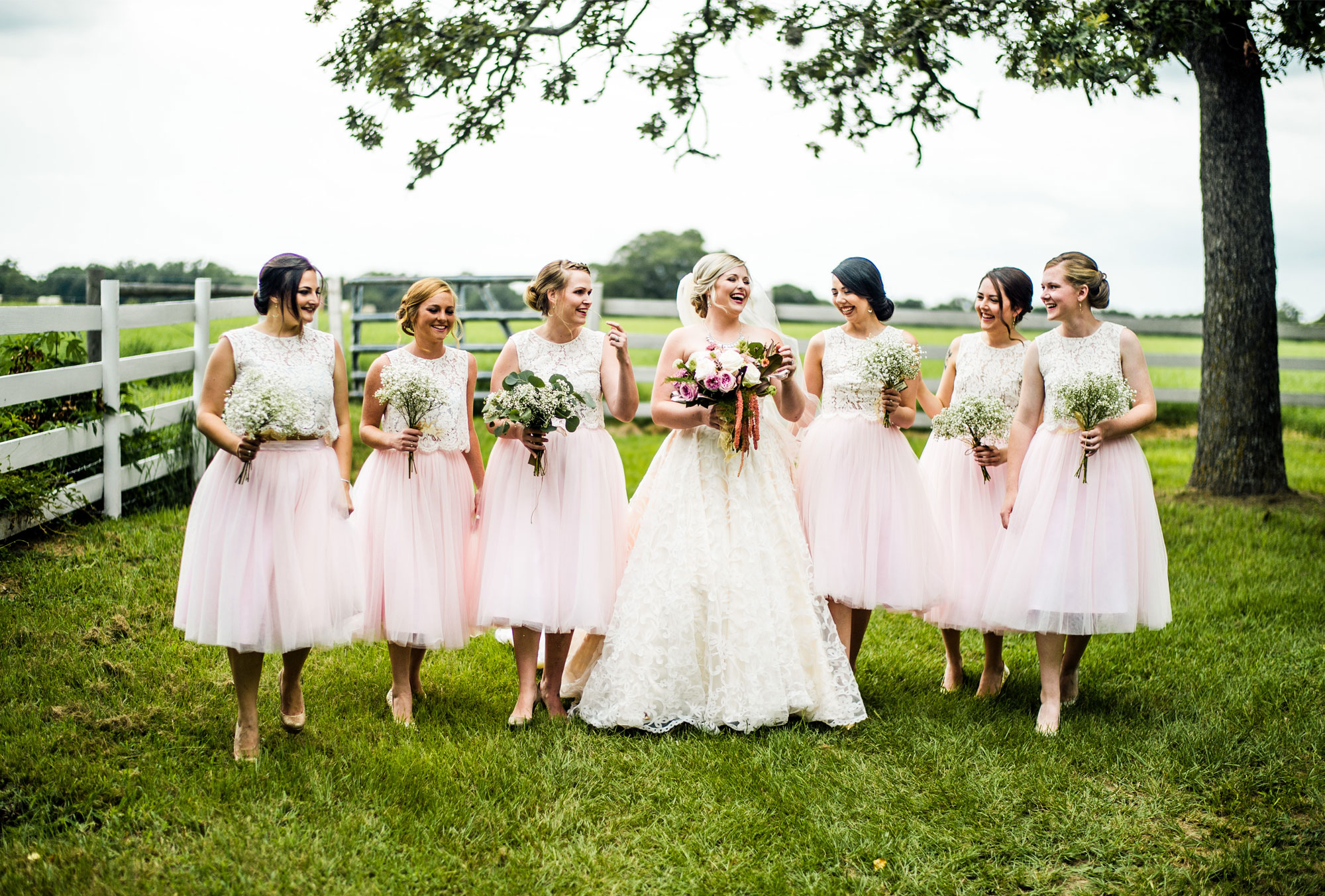 Bridesmaids in Blush Tulle Skirts