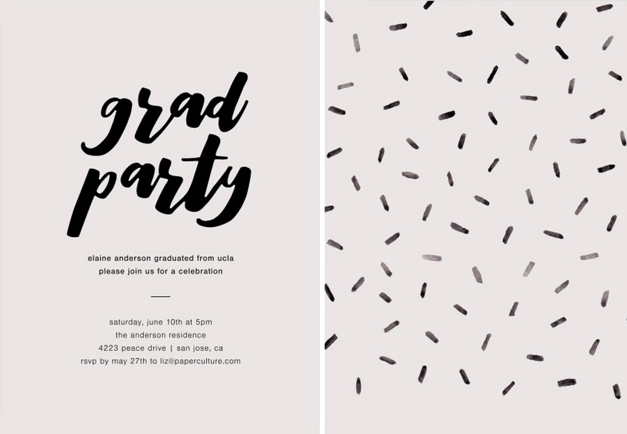 Black and White Modern Graduation Invitation